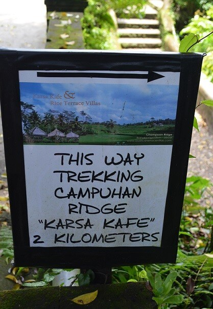 Schild Karsa Kafe Campuhan Ridge Walk